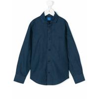Fay Kids Camisa Com Logo Bordado - Azul