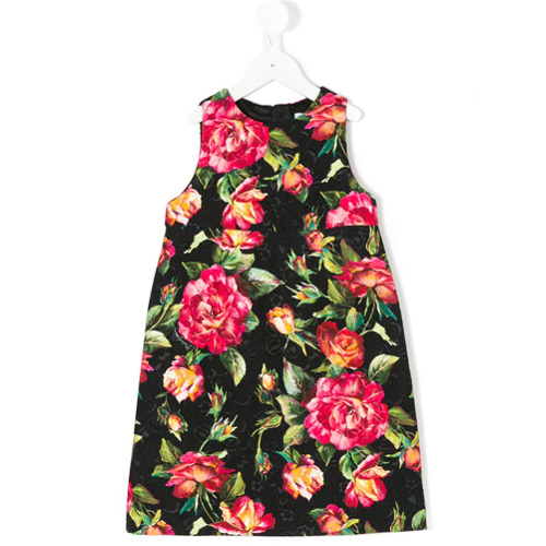 Dolce   Gabbana Kids Vestido Brocado De Rosas - Preto - Dolce ... 16490c2cb0