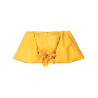 Bambah Blusa Cropped De Seda - Amarelo E Laranja