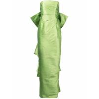 Bambah Vestido De Festa Drapeado Com Laço - Green