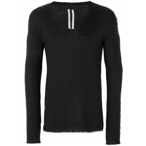 Suéter decote V preto em lã mista, Rick Owens. Possui mangas longas.