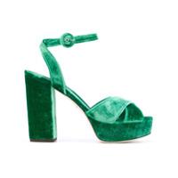 Dolce & Gabbana Sandália Plataforma De Veludo - Green