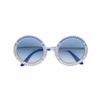 Dolce & Gabbana Eyewear Óculos De Sol Com Cristais Swarovski - Metálico