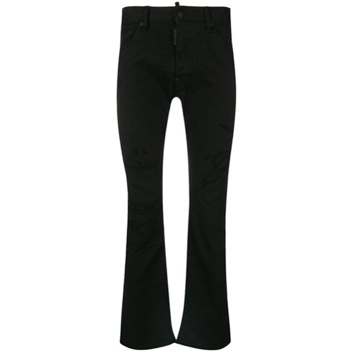 Image of Dsquared2 Calça jeans cropped destroyed - Preto