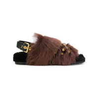 Car Shoe Sandália Com Pelos - Brown