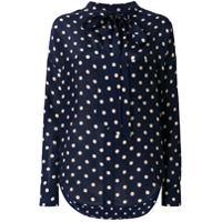 Balenciaga Blusa De Seda Com Poás - Azul