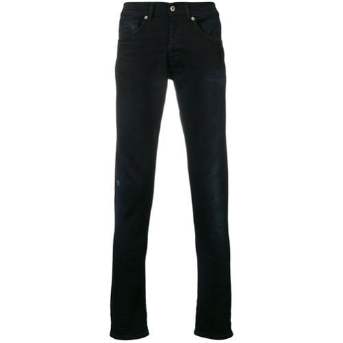 Black cotton-blend slim jeans from Dondup.