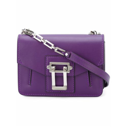 Bolsa modelo 'Hava' roxa em couro, Proenza Schouler. Possui forma retangular, parte superior dobrável com fecho de encai...