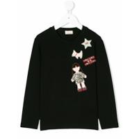 Elisabetta Franchi La Mia Bambina Camiseta Mangas Longas Com Patches - Preto