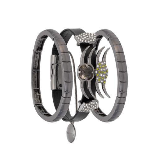 Imagem de Camila Klein Kit 3 pulseiras com couro - Metálico