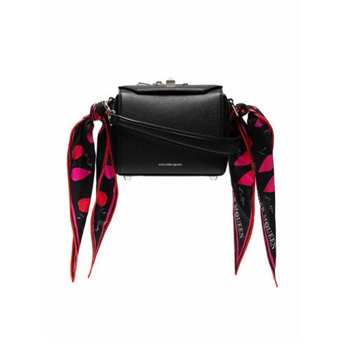Imagem de Alexander McQueen Bolsa caixa de couro com alça de seda - Preto