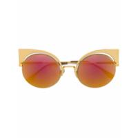 Fendi Eyewear Óculos De Sol Modelo 'eyeshine' - Metallic