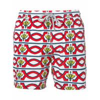 Capricode Shorts Com Estampa Geométrica - Branco
