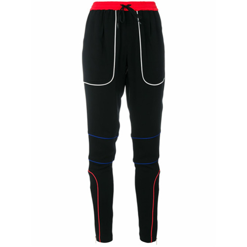 Calça esportiva slim preta, Tommy Hilfiger. Possui cintura franzida com ajuste por cordões, zíperes nos tornozelos e det...