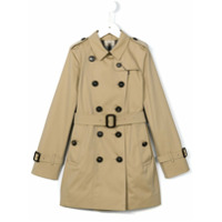 Burberry Kids Trench Coat Com Cinto - Nude & Neutrals