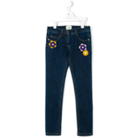 Fendi Kids Calça Jeans Com Patchwork - Azul