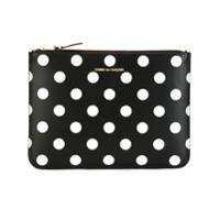 Comme Des Garçons Wallet Clutch De Couro Modelo 'polka Dots Printed ' - Preto