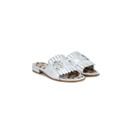 Silver leather fringed leopard print buckle slides from Roberto Cavalli Kids.