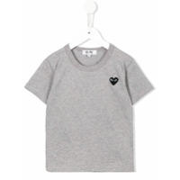 Comme Des Garçons Play Kids Camiseta Bordada Com Logo - Grey