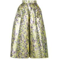Delpozo Calça Pantacourt Floral - Amarelo E Laranja