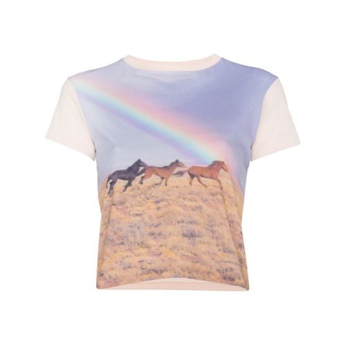 Multicoloured cotton crewneck tee with rainbow print from RE/DONE.