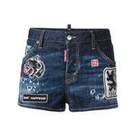Dsquared2 Short Jeans Com Aplicações - Azul