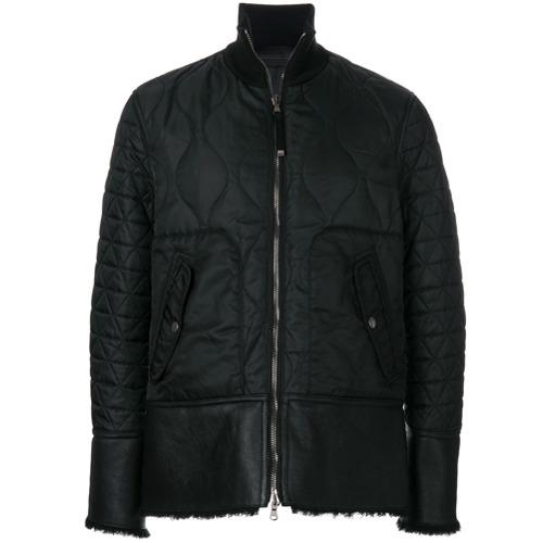 Jaqueta matelassê slim preta em couro e lã, Diesel Black Gold.