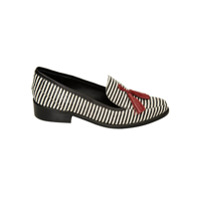Manolita Mocassim Mercy Stripes De Couro - Preto