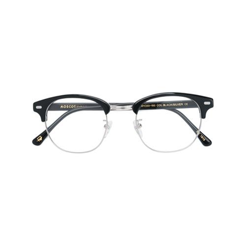 Óculos de grau 'Yukel' preto e prateado em acetato e metal, MOSCOT.