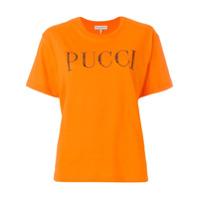 Emilio Pucci Camiseta Com Aplicação De Cristal E Logo - Amarelo E Laranja