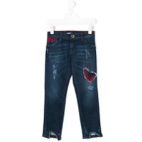 Patrizia Pepe Junior Calça Jeans Com Aplicação Xadrez - Azul
