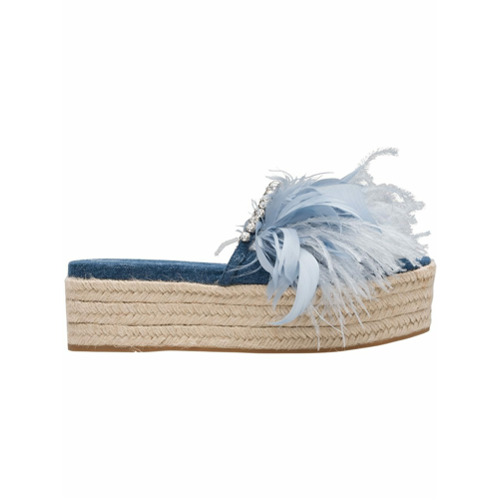 Imagem de Miu Miu embellished denim espadrilles - Azul