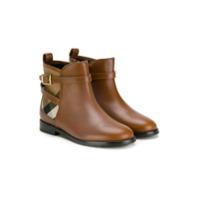 Burberry Kids Ankle Boot Com Detalhe Xadrez - Marrom