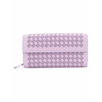 Bottega Veneta Carteira De Couro Xadrez 'intrecciato' - Pink & Purple