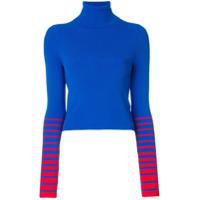 Tommy Hilfiger Suéter Gola Alta Com Listras - Azul