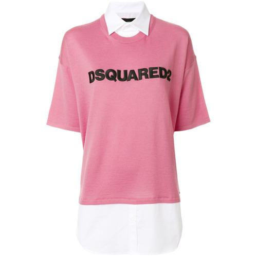 Suéter com logo bordado rosa em lã e algodão misto , Dsquared2. Possui colarinho, decote arredondado, logo bordado na fr...