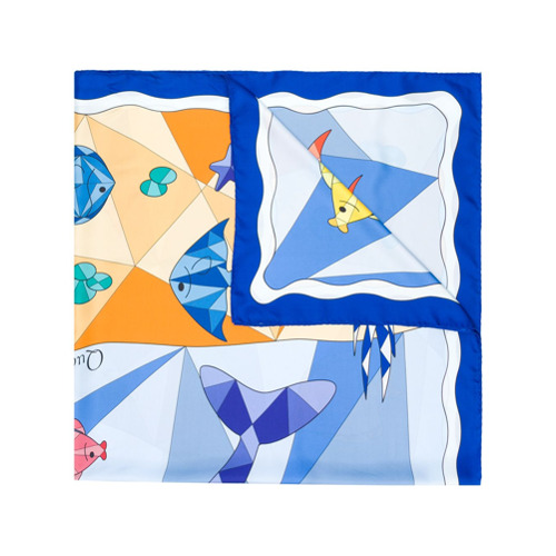 Imagem de Cha•Val Milano Lenço 'Sea Life' de seda - Azul