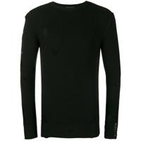 Diesel Black Gold Suéter De Tricô Destroyed - Preto