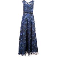 Aidan Mattox Vestido Com Bordado Floral - Azul