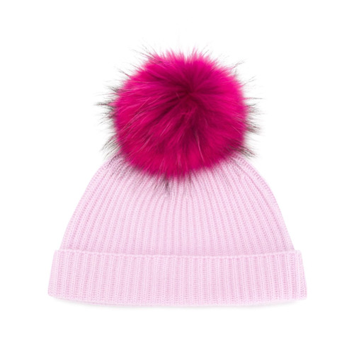 Lilac pink cashmere and racoon fur Ribbed Beanie with Detachable Pom Pom from N.Peal.