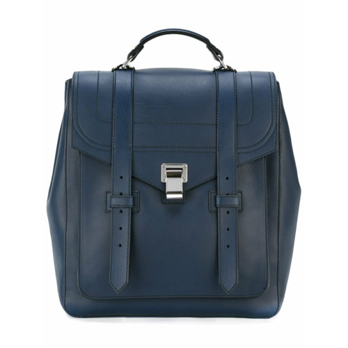 Mochila de couro estilo satchel azul, Proenza Schouler. Possui parte superior dobrável com fecho, alça de mão arredondad...
