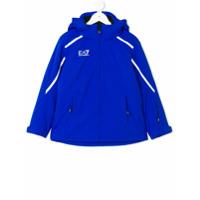 Ea7 Kids Jaqueta Matelassê Com Capuz - Azul
