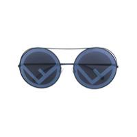 Fendi Eyewear Óculos De Sol Redondo - Preto