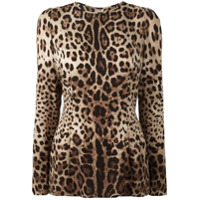 Dolce & Gabbana Blusa Animal Print - Brown