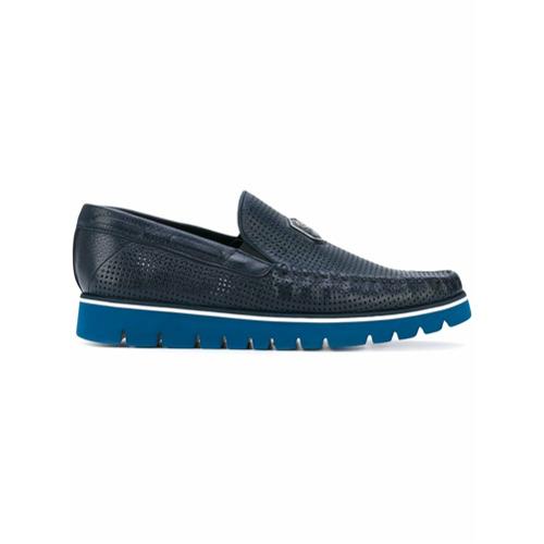 Imagem de Baldinini Sapato dockside de couro vazado - Azul