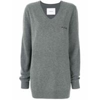 Push Button Suéter Com Detalhe De Bordado - Grey