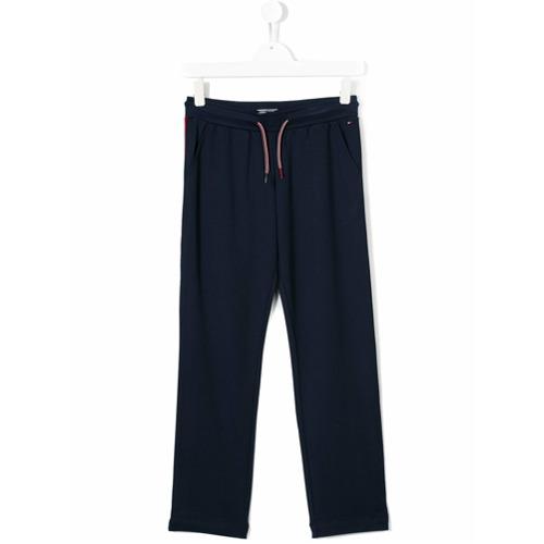 Calça de moletom azul marinho, TOMMY HILFIGER JUNIOR. Possui cintura franzida com ajuste por cordões, bolsos laterais, l...