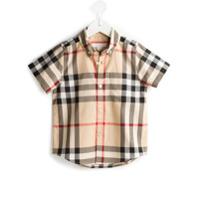 Burberry Kids Camisa Xadrez De Algodão - Nude & Neutrals