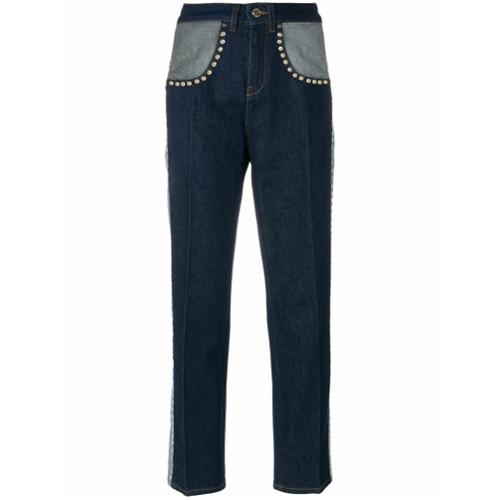 Calça jeans com tachas 'Tommy x Gigi' azul em algodão misto , Tommy Hilfiger.
