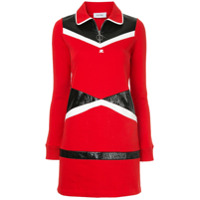 Courrèges Vestido Color Block - Vermelho